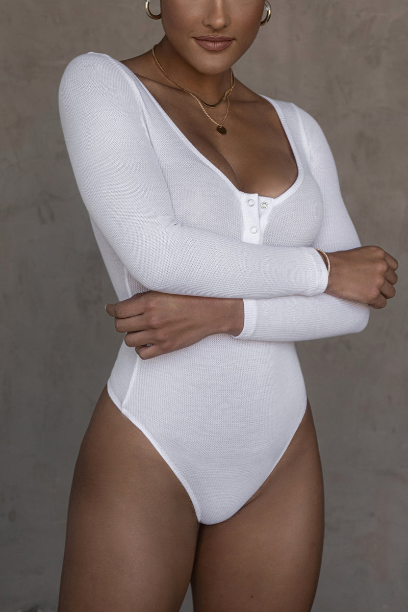 WHITE KINDALL SNAP BUTTON BODYSUIT