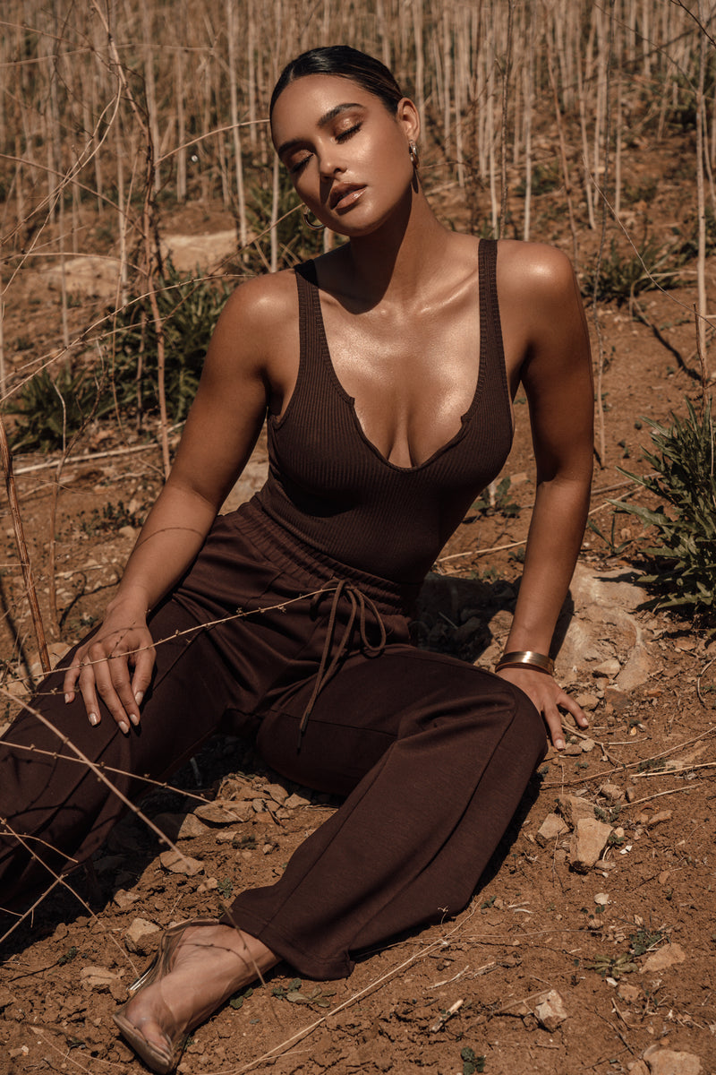 BROWN LAGOS SPLIT RIBBED BODYSUIT