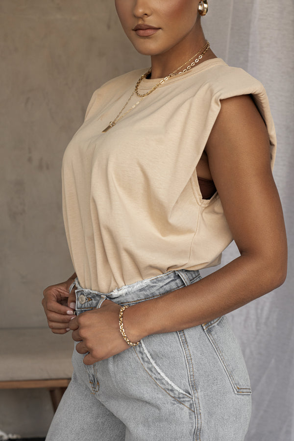TAUPE QUINCY SHOULDER PADDED TOP