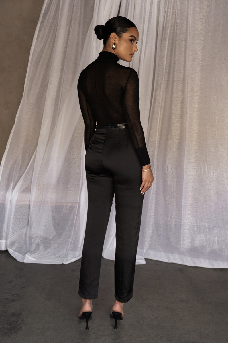BLACK LIBBY SATIN TROUSERS