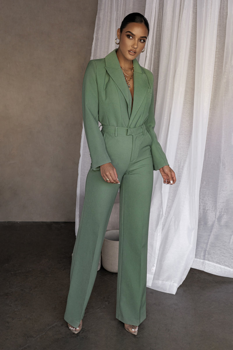 PINE GREEN LEWIN TAILORED TROUSERS