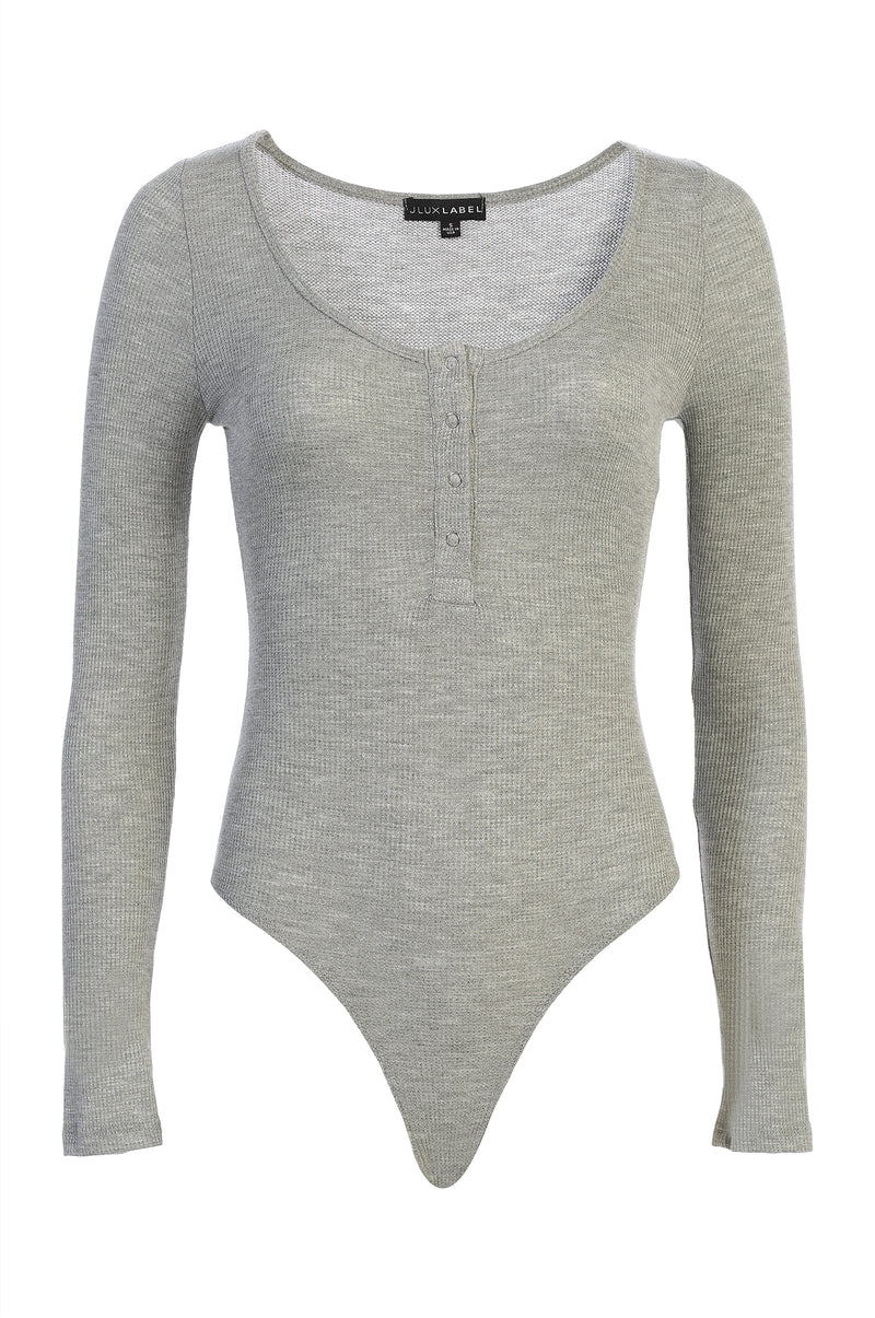 GREY KINDALL SNAP BUTTON BODYSUIT