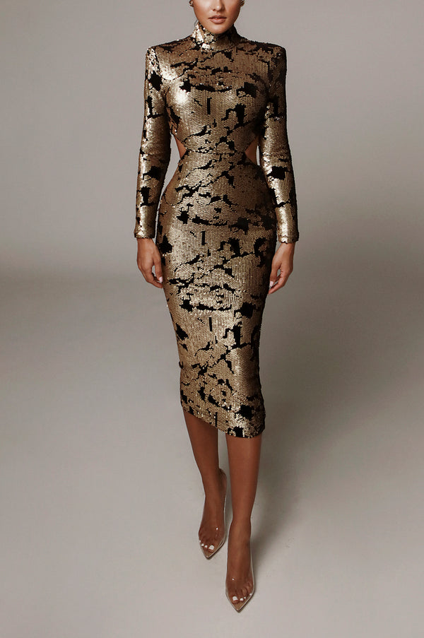 Gold Utopia Sequin Mid Cut Dress