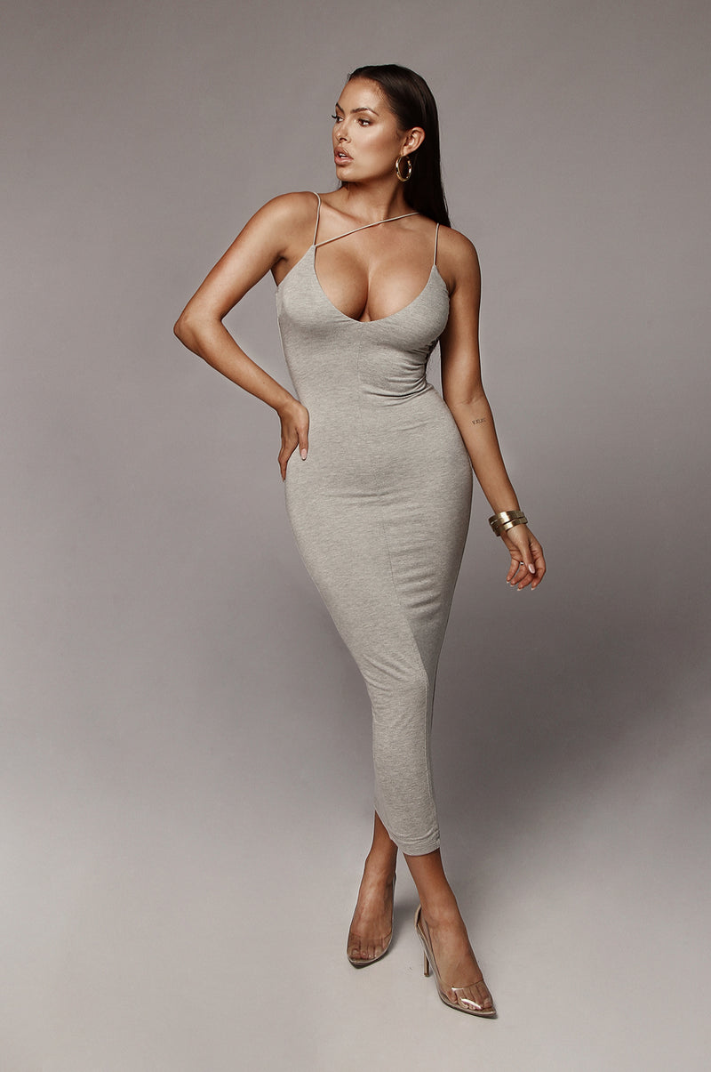 Grey Valencia JLUXBASIX Diagonal Strap Dress
