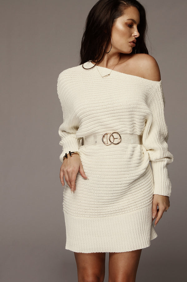 Ivory Kathy Knit Sweater Dress