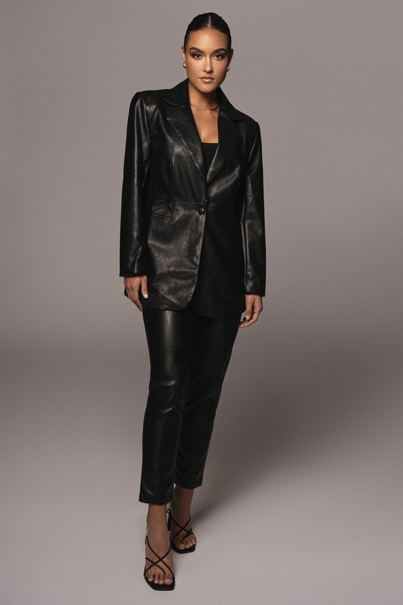 BLACK LEVINE FAUX LEATHER TROUSERS