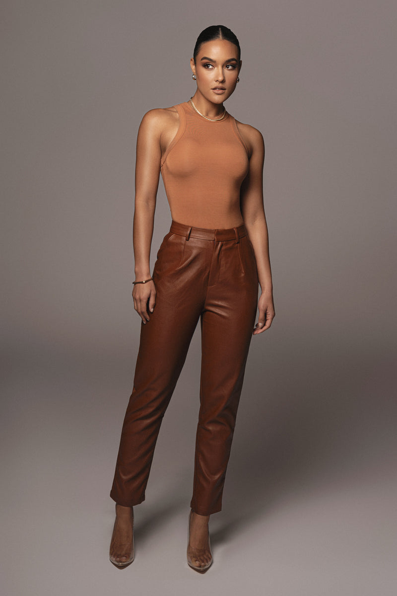 PECAN LEVINE FAUX LEATHER TROUSERS