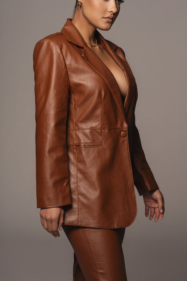 PECAN RUBEY FAUX LEATHER BLAZER