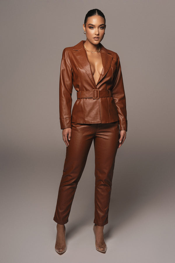 PECAN JEIDY FAUX LEATHER JACKET