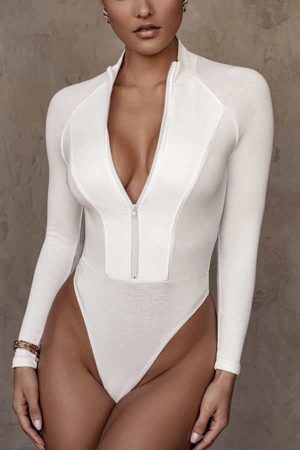 WHITE PIPER FITTED BODYSUIT