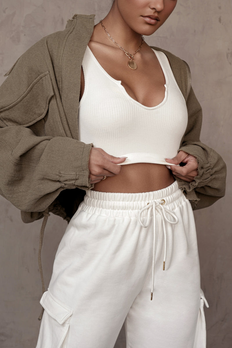 IVORY SPLIT RIBBED CROP TOP
