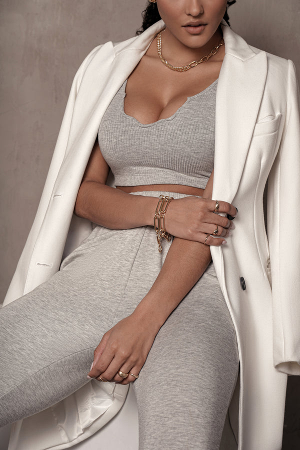 GREY SPLIT RIBBED CROP TOP