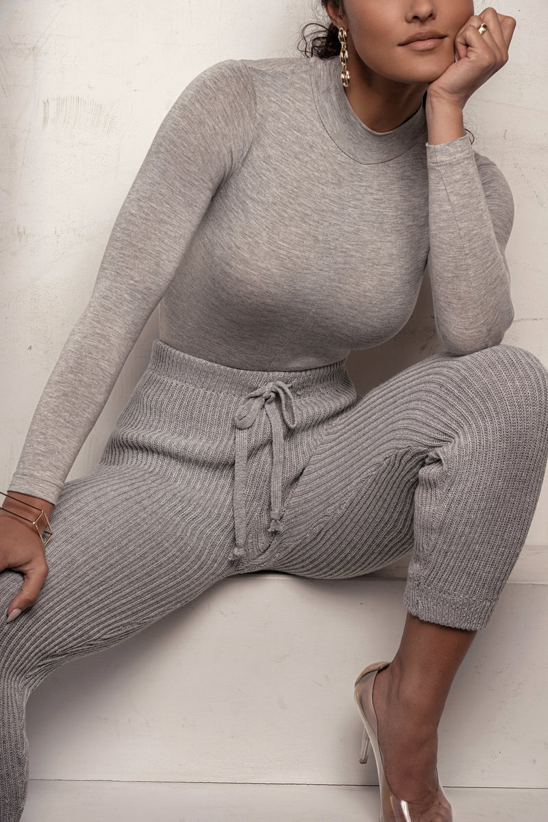 GREY ADELAIDE TURTLENECK BODYSUIT
