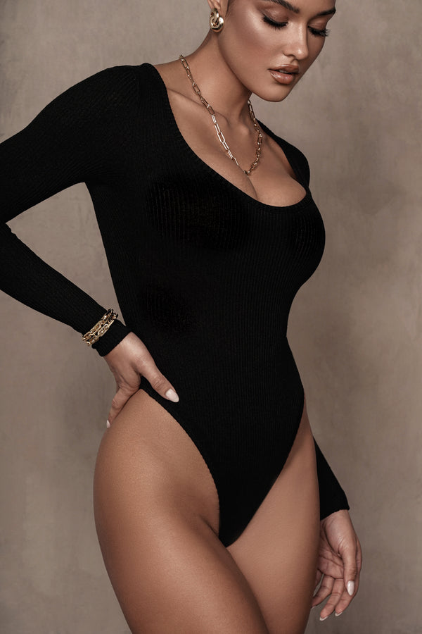 BLACK ELLERY KNIT RIBBED BODYSUIT