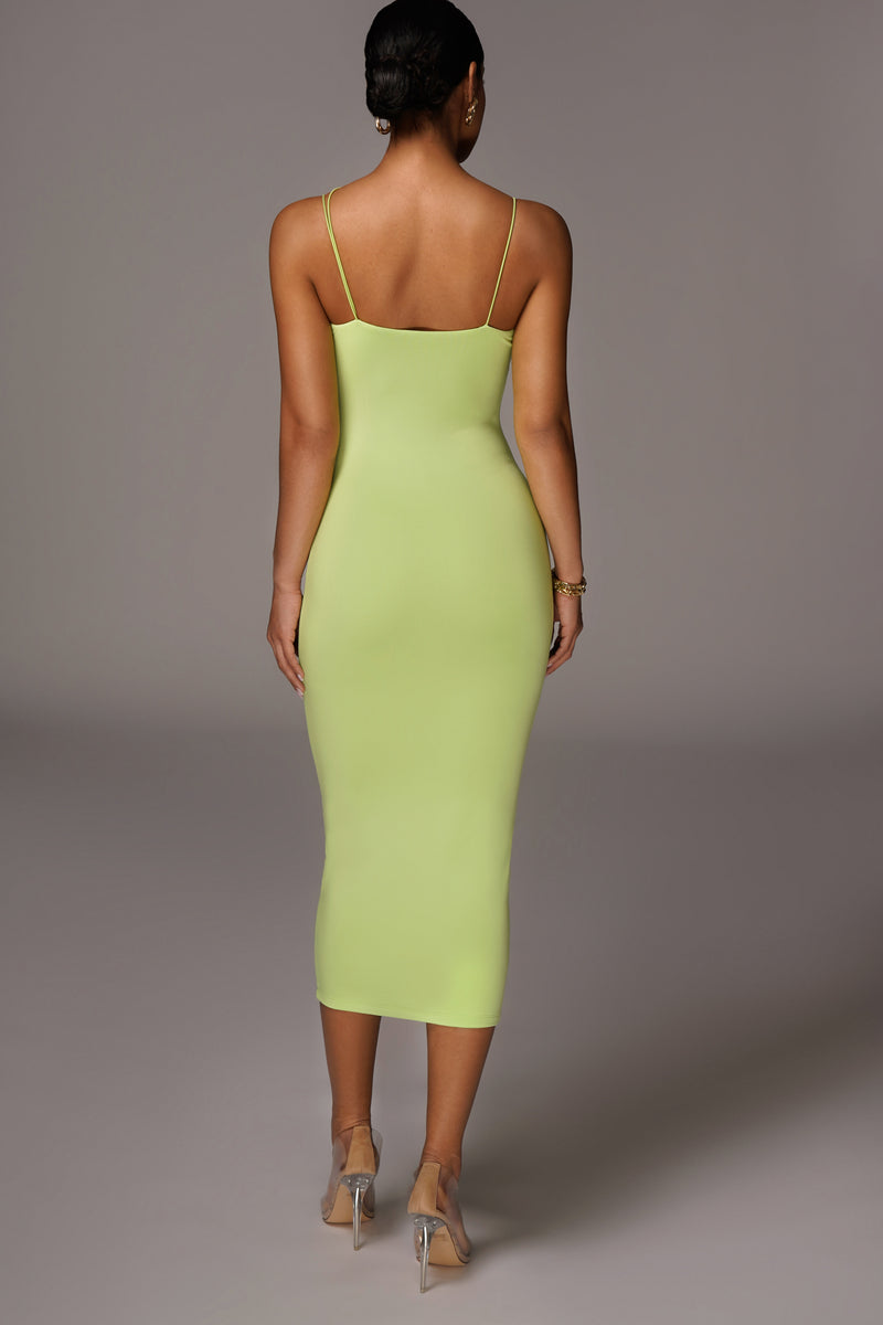 JLUXBASIX LIME VALENCIA DIAGONAL STRAP DRESS