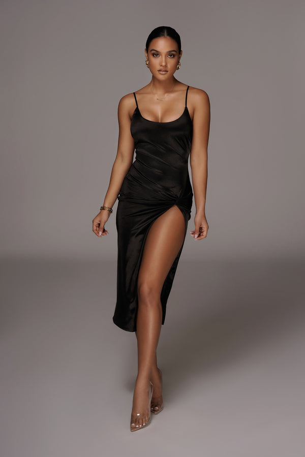 Black Aldis Satin Slit Dress