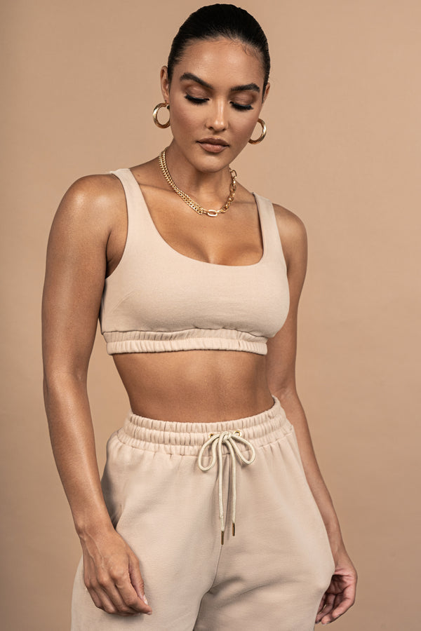 BEIGE NADALA FLEECE CROP TOP