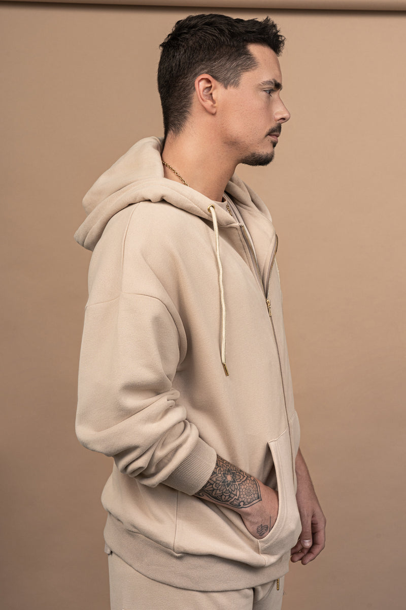 BEIGE UNISEX ABELLA ZIP UP