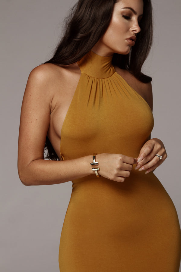 Mustard Nela Mock Neck Basix Dress
