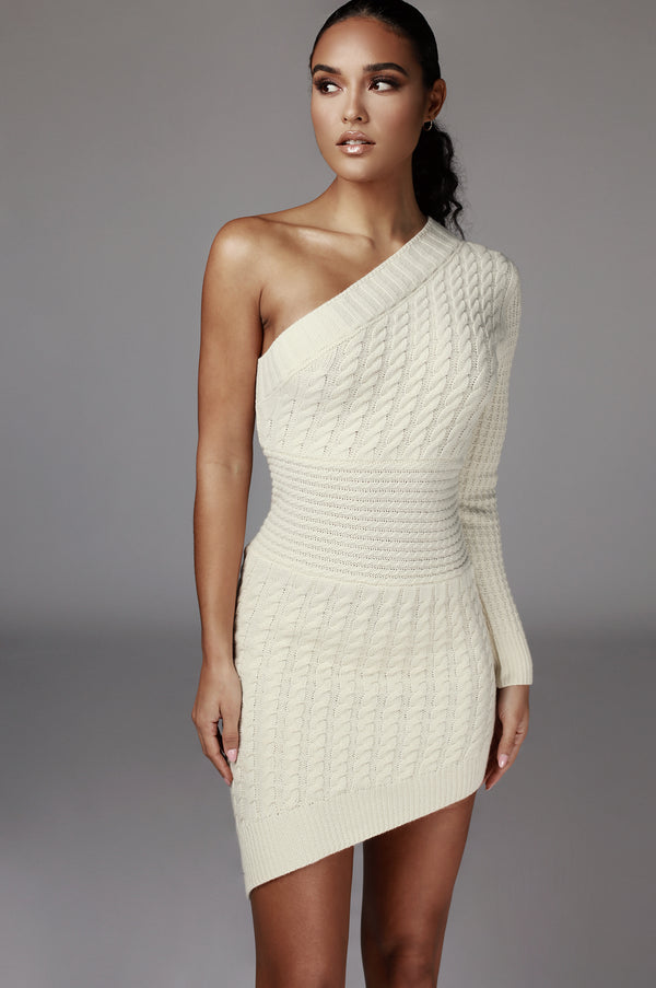 Ivory Julianna Cable One Shoulder Sweater Dress