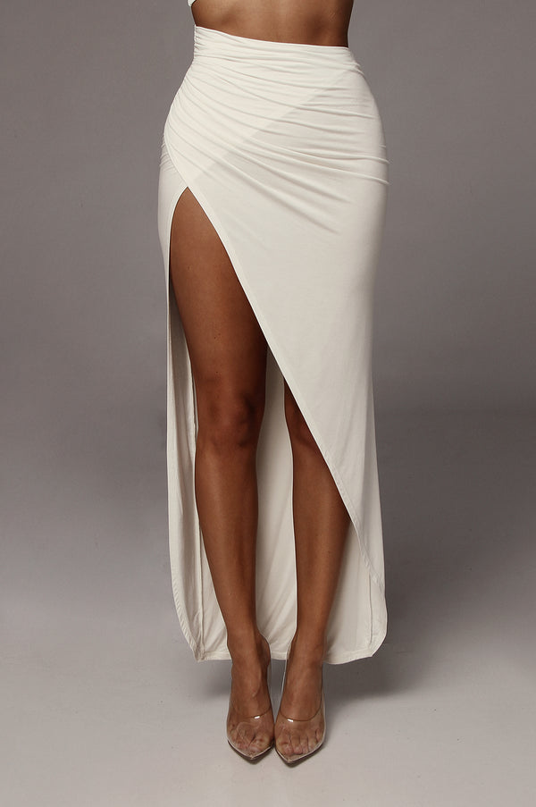 Ivory Alycia High Slit Skirt