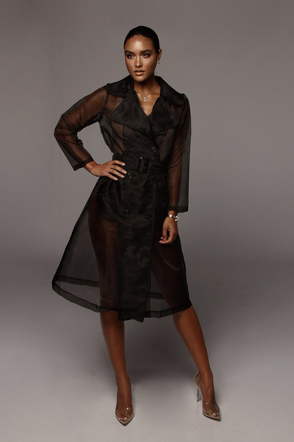 Black Cornwell Sheer Coat
