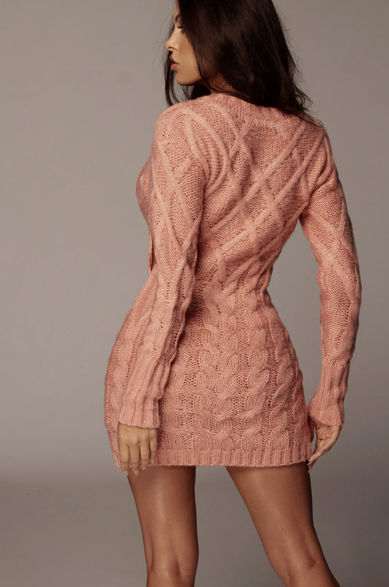 Pink Bea Cable Sweater Dress