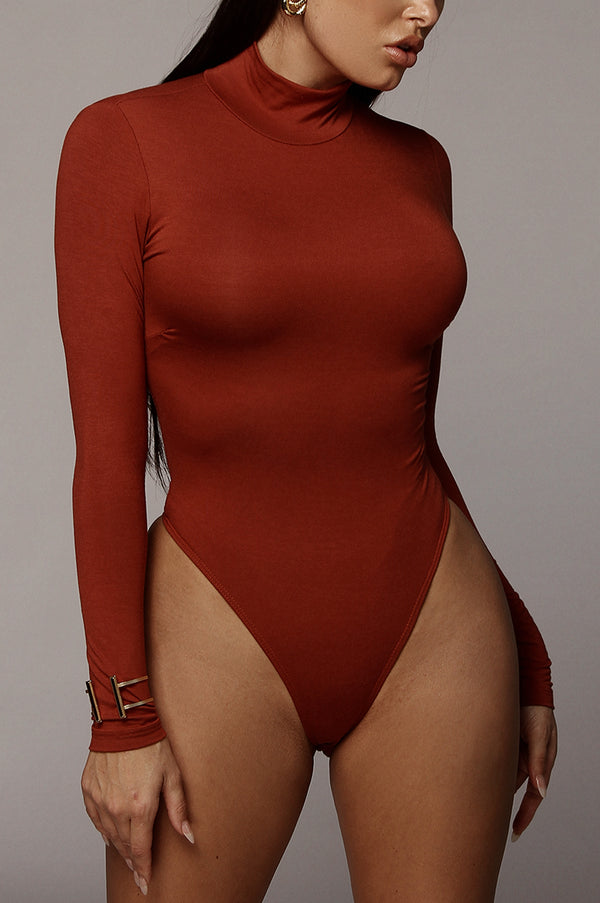 Rust Luna Mock Neck Bodysuit