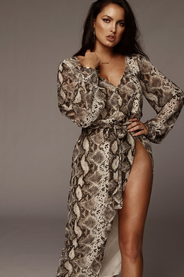 Snakeskin High Slit Dress