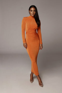 Orange Kara Mock Neck Dress