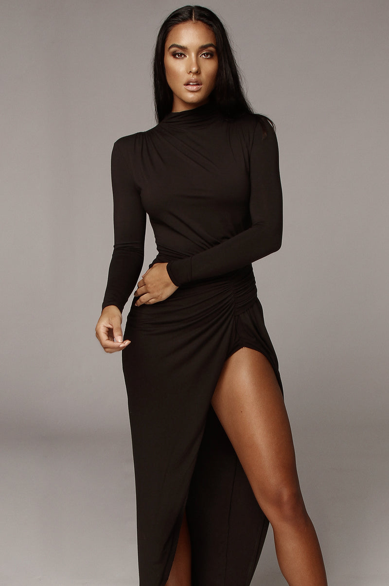 Black Martyna High Slit Dress