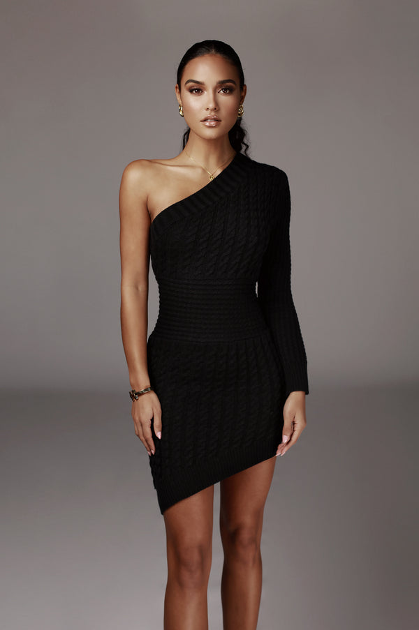 Black Julianna Cable One Shoulder Sweater Dress