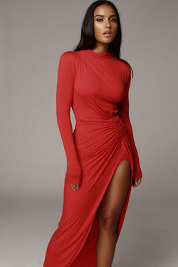 Red Martyna High Slit Dress