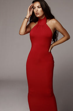 Red Nela Mock Neck Basix Dress
