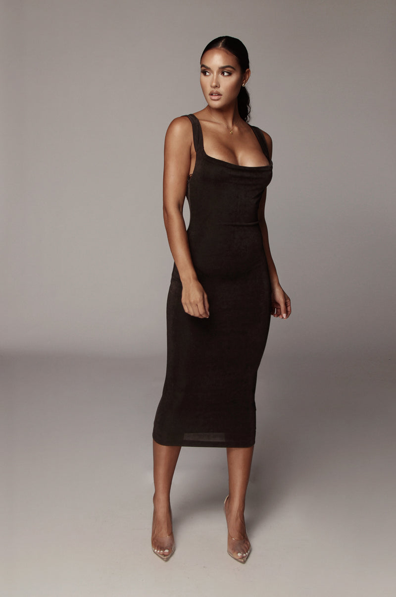 Black Draped Back Dress