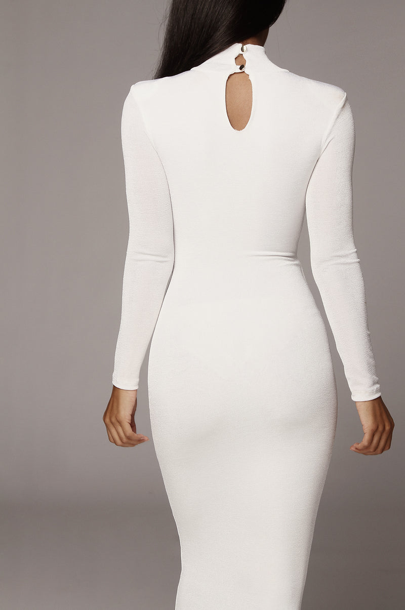Ivory Kara Mock Neck Dress