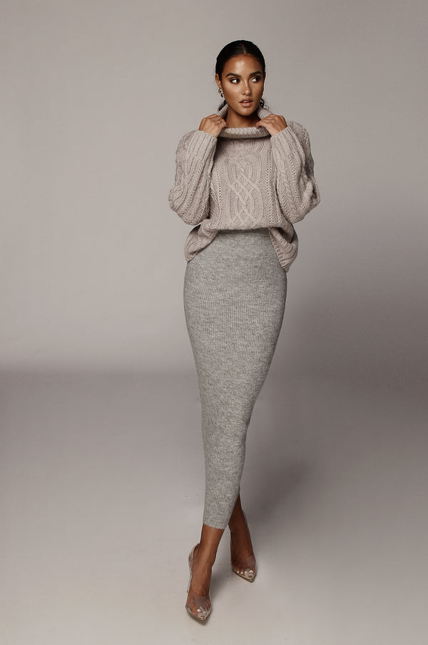 Grey Romie Cable Knit Sweater