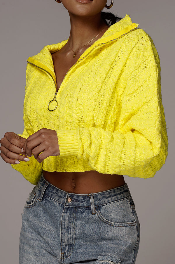 Yellow Aleksa Cable Knit Pullover