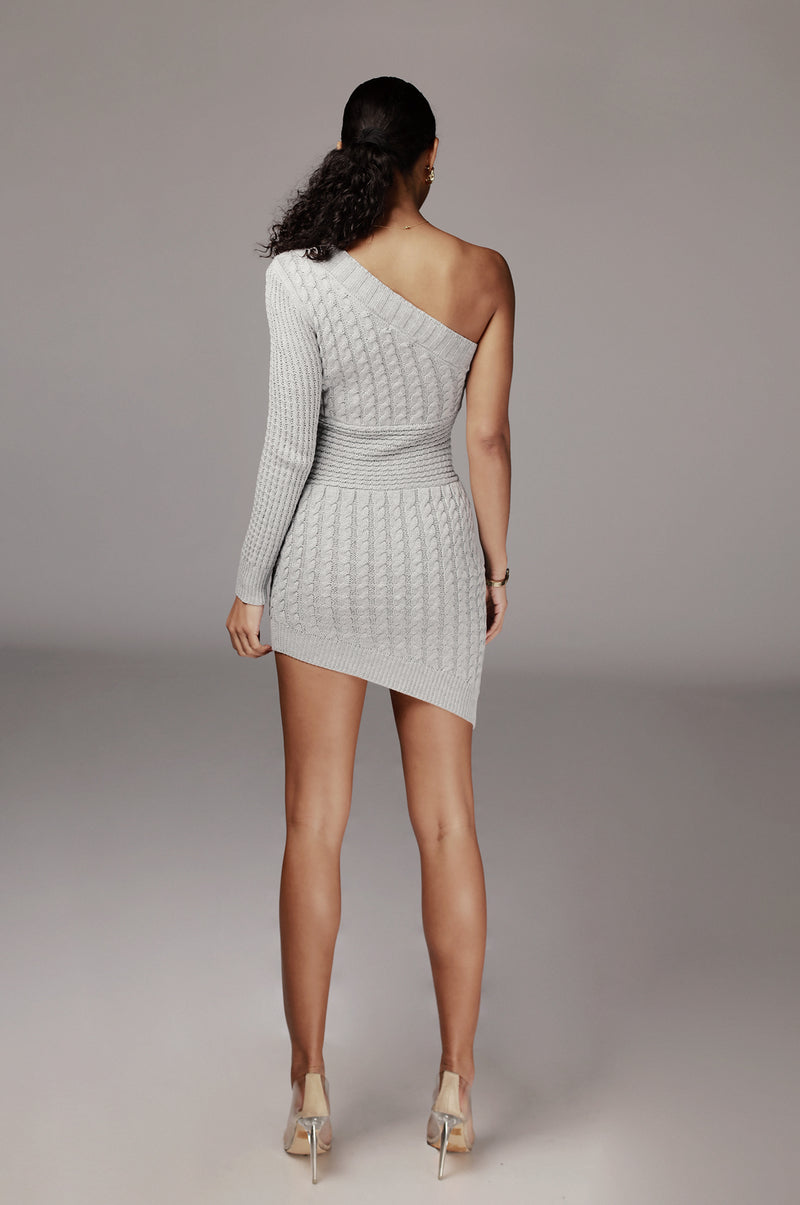 Grey Julianna Cable One Shoulder Sweater Dress