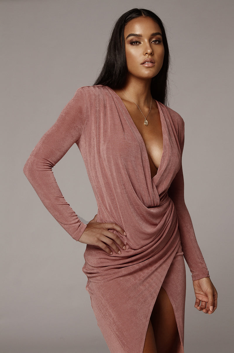 Mauve Klarita Front Drape Dress