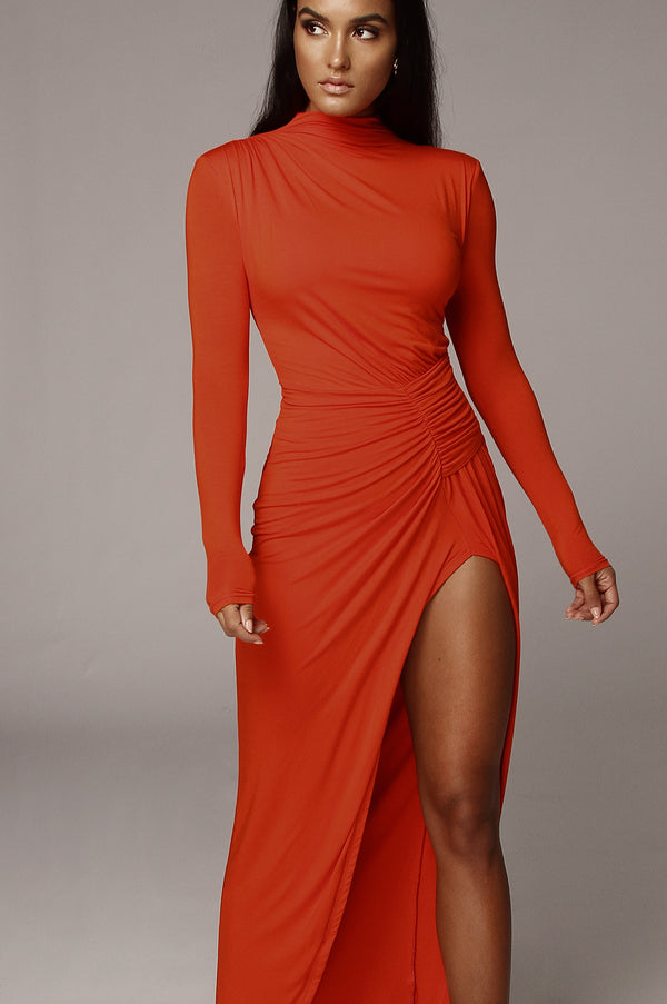 Orange Martyna High Slit Dress