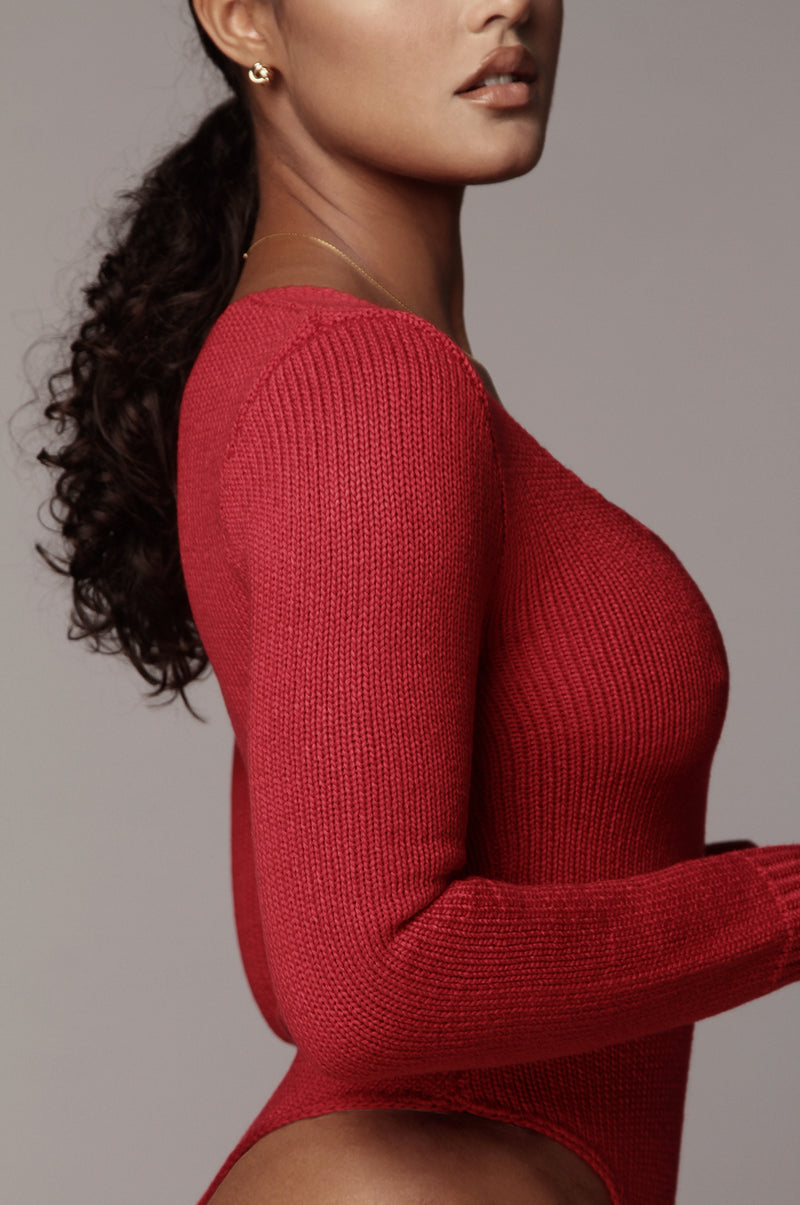 Red Alize Sweater Bodysuit