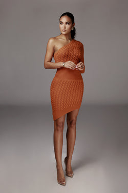 Orange Julianna Cable One Shoulder Sweater Dress