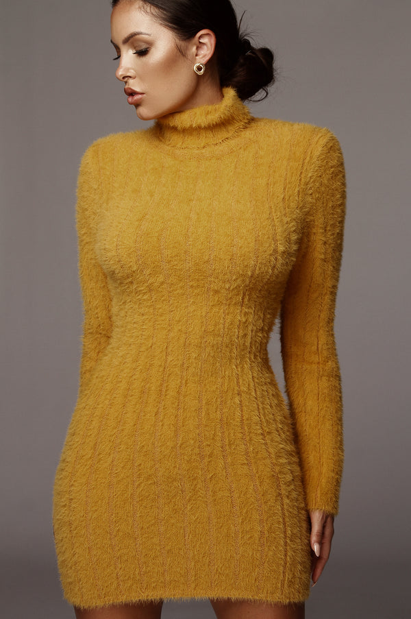 Mustard Jazlene Fuzzy Sweater Dress