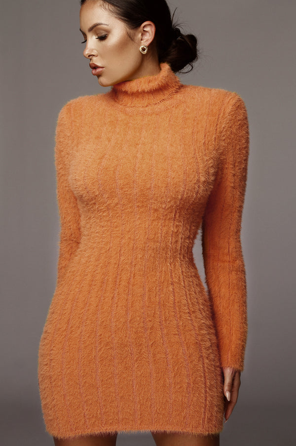 Melon Jazlene Fuzzy Sweater Dress