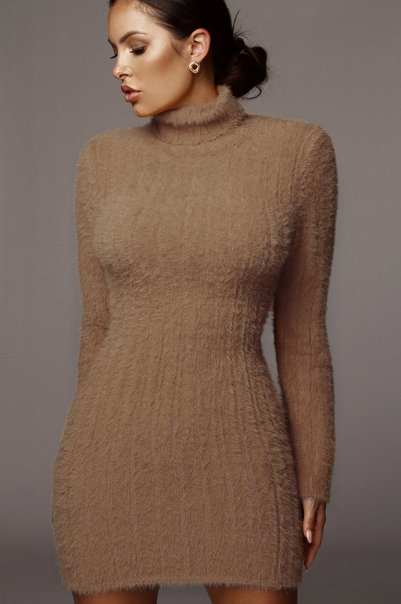 Tan Jazlene Fuzzy Sweater Dress