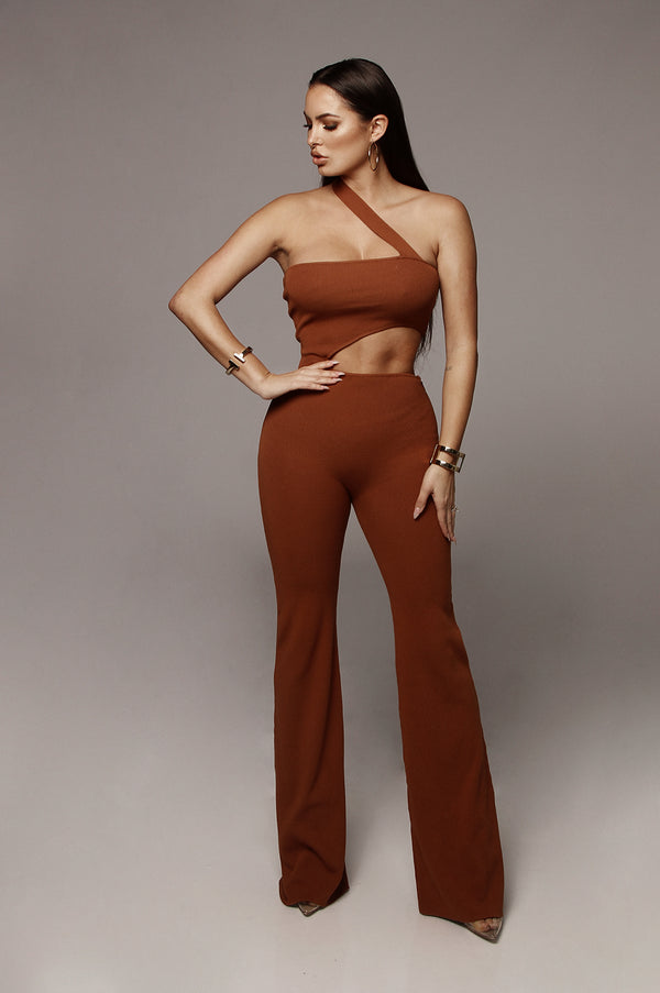 bf0dffb31b13 ... Rust Asymmetrical Cut-Out Jumpsuit