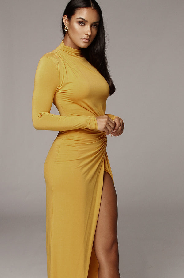 Mustard Martyna High Slit Dress