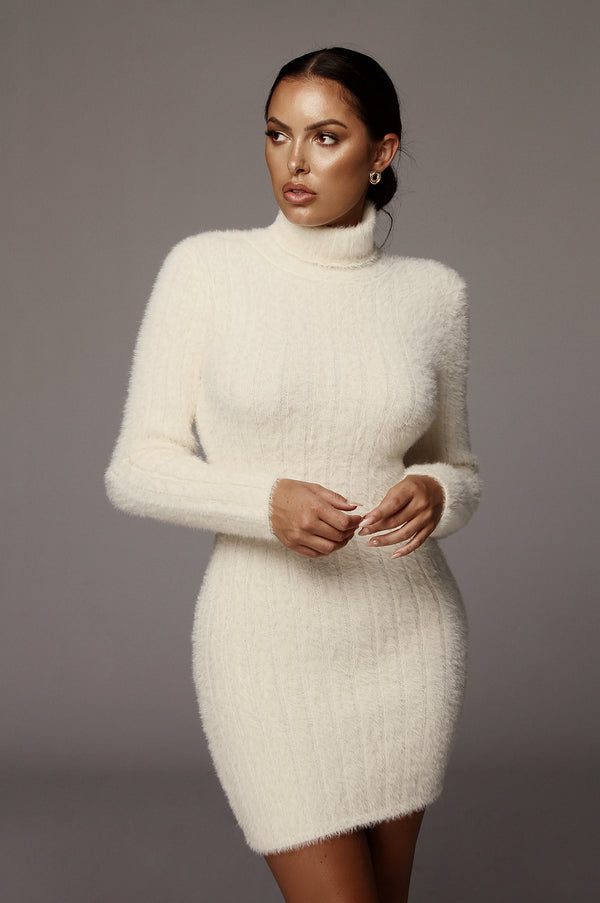 Ivory Jazlene Fuzzy Sweater Dress