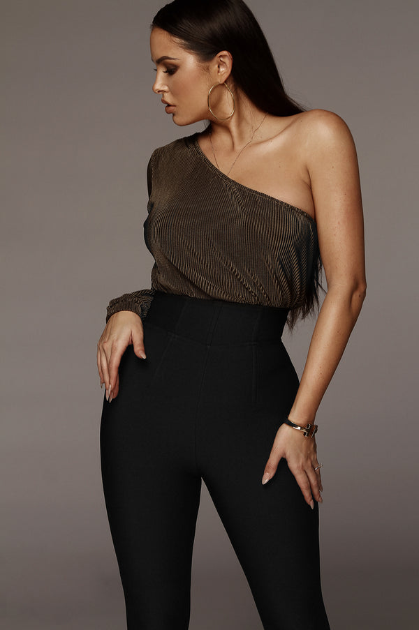 Olive One Shoulder Pleated Bodysuit